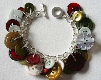 Button Bracelet Dark Berry Red Khaki Green and White