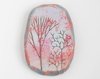 Modern Wood Wall Art, Colorful Acrylic Paint, Modern Pyrography, Geometric Art, Faceted Wood, Wood Burning, Morning Trees