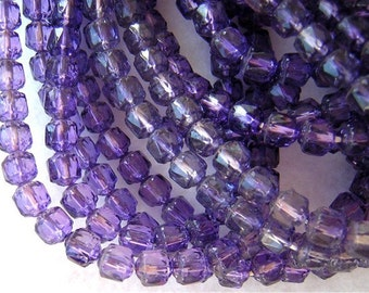 25 Czech Glass Beads VIOLET PURPLE 6x7mm Multifaceted CATHEDRAL Cut