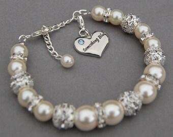 Something Blue Bracelet, Bridal Jewelry, Something Blue Charm, Bridal Gift, Something Blue for Bride, Something Blue Gift, Bridal Bracelet