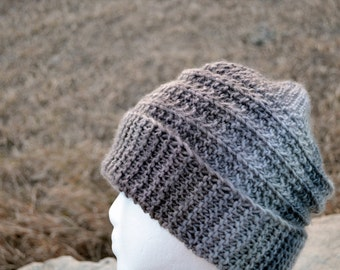 CORRUGATE Hat in Sand & Fog - Hand Knit Hand Made Unique Design Slouchable Beanie Grey Surf Beanie Slouch Hat All Seasons