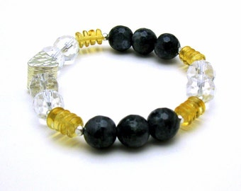 Crystal Quartz Citrine Luxe Gemstone Beaded Bracelet, Modern Charcoal and Honey Stretch Bracelet, For Her Under 250, Girlfriend Gift