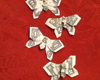Origami Money One Dollar -or- Two Dollar  -or- Five Dollar Bill Butterfly