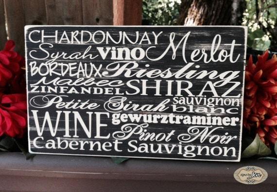 Wine sign, WIne List, Wine Cellar Subway Sign, Vino, Chardonnay, Merlot, Shiraz, Pinot Noir, WineReisling, Cabernet, Zinfandel - Style HM14