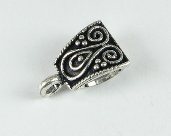 Bali Sterling Silver Swirls and Dots Slide Bail 16mm x 10mm, Jewelry Findings, Beading Supplies (1 piece)