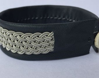 Dark Gray Sami Bracelet - Leather Wrap Tin Metal Thread Braided Bracelet with Reindeer Leather and Antler Button Clasp