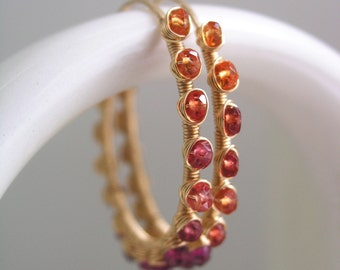 Sapphire Gold Filled Hoops, Garnet Wire Wrapped Earrings, Tangerine Orange Ombre, Magenta Pink, Lightweight, Signature, Made to Order
