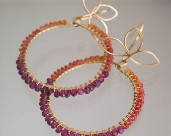 Sapphire Garnet Hoops, Wire Wrapped Earrings, Gold Filled Branches, Color Blocked, Tangerine, Magenta, Petals, Leaves, Original Design