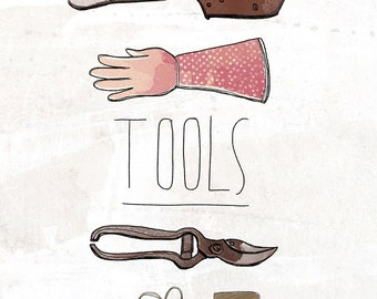 Tools Of The Trade - Beautifully textured cotton canvas art print. Order as an 8x10 11x14 or 16x20 size.