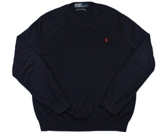 Vintage Polo by Ralph Lauren Sweater in Navy Menswear Mens Size Small