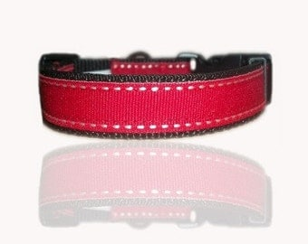 Red Saddlestitch Dog Collar