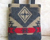 James Handbag in Navajo Pattern Wool and Denim, Repurposed, Upcycled Purse