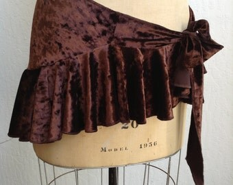 Bum Ruffles/ One Size/ Hip Wrap/ Tribal Belly Dance/Brown/ Costume/ Yoga/ Shawl/ Stretch Velvet/ Streampunk/ Boho/ Gothic
