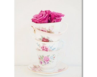 Vintage tea cup and pink roses Canvas Gallery Wrap - shabby chic, granny chic, roses, tea cup photo, kitchen art, still life photo canvas