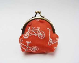 Coin purse, Coral and white bicycle fabric purse, cotton pouch
