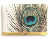 Wallet clutch, peacock feather bag, brass purse clasp, zipper bag, PEACOCK