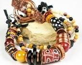 Multi Strand Beaded Bracelet, Mixed Metal, Repurposed Copper, Antique Venetion Trade Bead, Moukaite, Spinel, Boro Glass, Tribal- Spirit