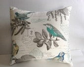 Bird Pillow Cover Aqua Blue Off White Pillows, Decorative Throw Pillow Covers - Choose Size- Premier Prints Aqua Yellow Blue Bird