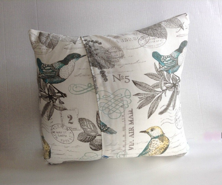 Pillow Covers Home Decor Bird Pillow Cover Blue By Aggieray