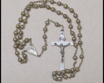 SALE   Italy Petite All Metal Beads Rosary