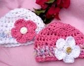 Creme Brulee Winter Warmth -Soft Organic Cotton Crocheted Hat for Baby/Preemie Baby/Newborn baby