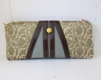 Velvet & Leather Clutch by Tiny Marie Metallic Gold Silk Chenille