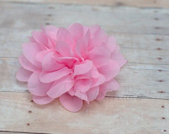 Pink Flower Hair Clip - Petal Flower- Flower Hair Clip - Alligator Clip - With or Without Rhinestone Center