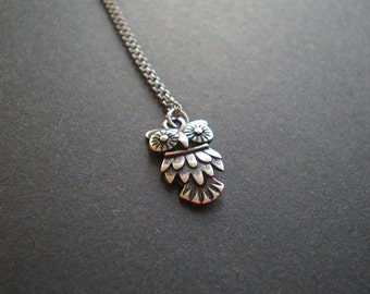 Teen Girl Gift Owl Charm Necklace - Small Silver Owl- Cute Owl - Woodland Animal -Bat Mitzvah -Christmas for Her -Birthday Gift Little Girl