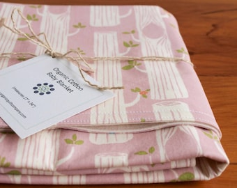 Pink Baby Blanket, Modern Woodland Receiving Blanket, Organic Baby Blanket, Trendy Baby Blanket Gift for Girls, Tree Stripes Pink (Last One)