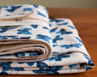 Organic Baby Blanket and Burp Cloth Gift Set in BUTTERFLIES; Indigo Blue and White Butterfly Organic Baby Gift (Last Set)