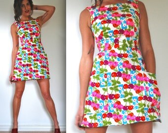 Vintage 60s 70s Cherry Orchard Mini Dress (size xs, small)