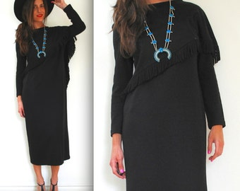 Vintage 80s 90s Black Fringe Midi Sweater Dress (size medium, large)