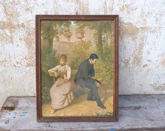 Vintage Antique 1900 French framed chromolithograph Lovers on a bench