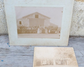Vintage Antique 1850/1900 old French wedding sepia photographys set of 2