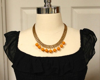 French elegance repurposed brass chain with vintage resin orange beads necklace /bracelet/ earrings set FREE SHIPPING