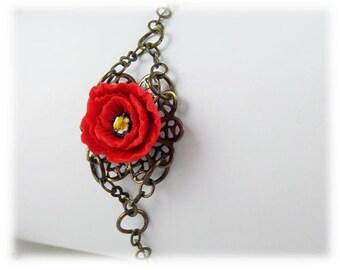 Poppy Clasp Bracelet - Poppy Jewelry, Poppy Filigree Bracelet