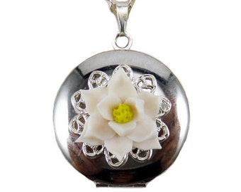 Magnolia Flower Locket Necklace -  Magnolia Jewelry