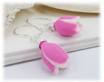 Pink Tulip Earrings - Tulip Jewelry