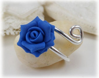 Rose Adjustable Silver Wrap Ring - Rose Jewelry