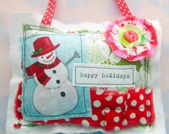 Happy Holidays Snowman Pillow Ornament