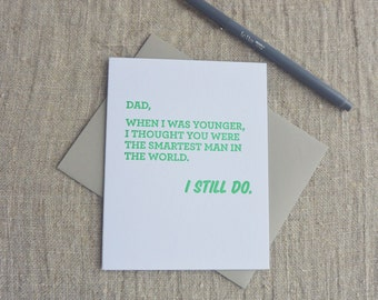 Letterpress Greeting Card - Father's Day Card - Smartest Man - 506-004