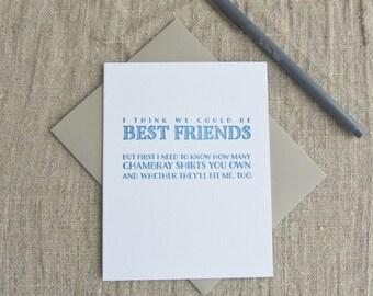 Letterpress Greeting Card - Dealbreaker - Chambray Shirts - 110-003