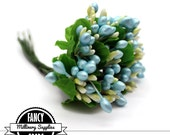 1 - Light Blue / Yellow - Pip Berry Cluster - Floral Stamens - Flowers - Millinery - Vintage Look
