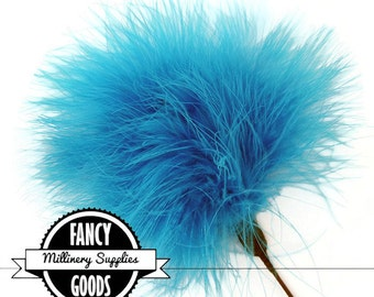 SALE - 1 - Turquoise Blue - Marabou - Ostrich Feather Pick - Pom Pom - Poof - Millinery Feather - Bouquet Pick