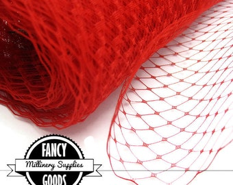 Red Veiling - Netting - Russian / French - Birdcage Veil - Millinery - Hats - 1 Yard