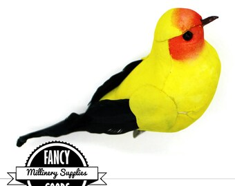 1 - Orange / Yellow / Black - Craft Bird -  Fake Bird -  Artificial Bird -  Feathers - Millinery - Hat Decor - Mushroom Bird
