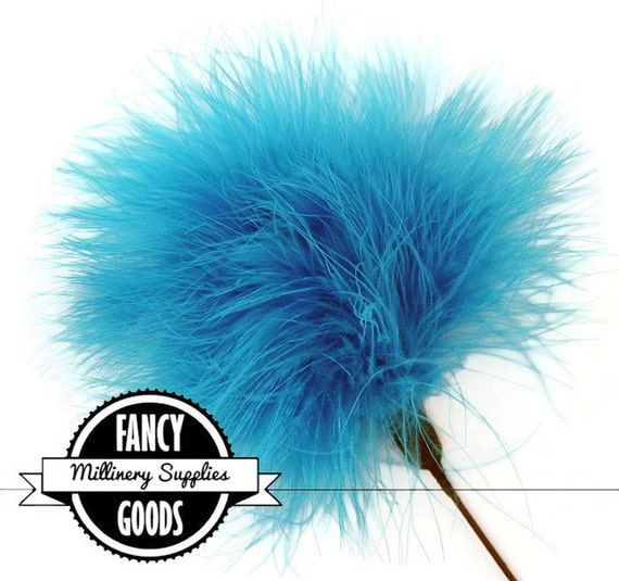 Turquoise Blue - Feather Pom Pom Pick - Poof - Millinery Feather - Bouquet Pick - Marabou - Ostrich Feather Pick