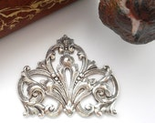 SILVER CREST Flourish Scroll Leaf Stamping ~ Jewelry Antique Silver Findings (FA-6081)