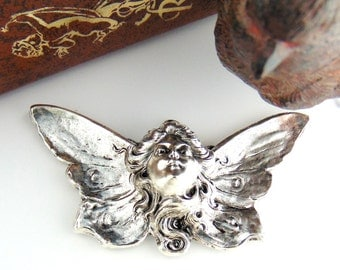 SILVER (2 Pieces) Heavenly Angel Fairy Stamping ~ Jewelry Antique Silver Findings (C-701) #