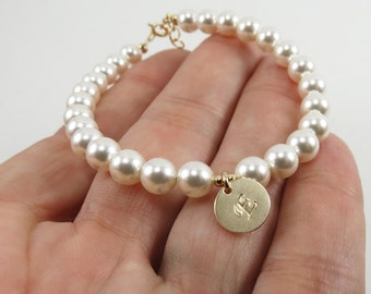Personalized Pearl Bracelet,Wedding Bracelet,Bridesmaid Bracelet,Silver Silver or Gold Bracelet, Bridesmaids Gift, Gift for Her, Mother gift
